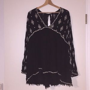 Free People Black Embroidered Tunic
